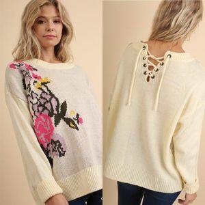 Floral Jacquard Sweater w/Back Drawstring